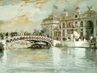 Columbian Exposition, Chicago painting reproduction, Childe Hassam