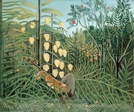 Combat of a Tiger and a Buffalo painting reproduction, Henri Rousseau