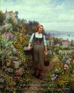 Coming Home From Market painting reproduction, Daniel Ridgway Knight