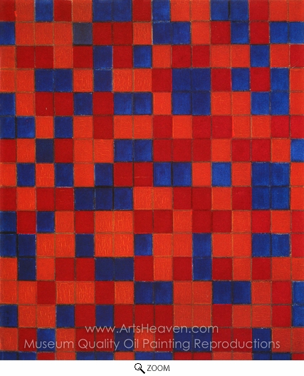 Piet Mondrian, Composition with a Grid 8 (Checkerboard with Dark Colors) oil painting reproduction