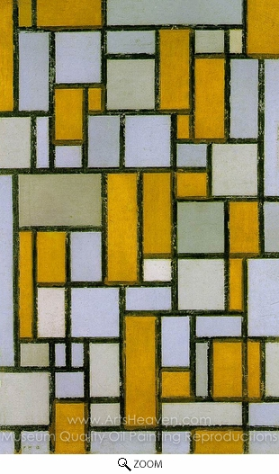 Piet Mondrian, Composition with Gray and Light Brown oil painting reproduction