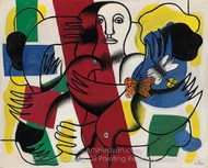 Composition with Two Butterflies painting reproduction, Fernand Leger