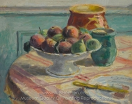 Compote of Peaches and Pears, with Pitchers, on a Table painting reproduction, Albert Andre