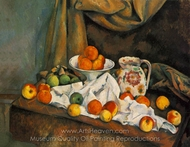 Compotier, Pitcher, and Fruit (Nature morte) painting reproduction, Paul Cézanne