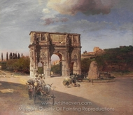 Constantine's Triumphal Arch in Rome painting reproduction, Oswald Achenbach