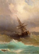 Constantinovich Ship in the Stormy Sea painting reproduction, Ivan Aivazovskiy