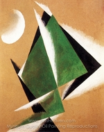 Construction with White Crescent painting reproduction, Liubov Popova