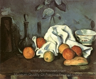 Containers, Fruit, Dishcloth painting reproduction, Paul C�zanne