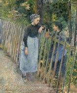 Conversation painting reproduction, Camille Pissarro