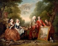 Conversation Piece (Portrait of Sir Andrew Fountaine with Other Men and Women) painting reproduction, William Hogarth