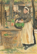 Cooking at the Market painting reproduction, Jean-Francois Raffaelli