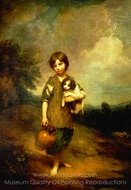 Cottage Girl with Dog and Pitcher painting reproduction, Thomas Gainsborough