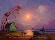 Cottage in the Moonlight in Briere painting reproduction, Ferdinand Du Puigaudeau
