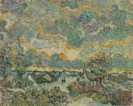 Cottages and Cypresses, Reminiscence of the North painting reproduction, Vincent Van Gogh