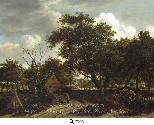 Meindert Hobbema, Cottages in a Wood oil painting reproduction