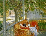 Couch on the Porch, Cos Cob painting reproduction, Childe Hassam