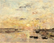 Coucher de soleil sur la Canche, Etaples painting reproduction, Eugene-Louis Boudin