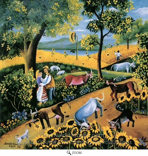 Camelia Ciobanu, Country Landscape with Cows and Sunflowers oil painting reproduction