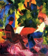 Couple at the Garden Table painting reproduction, August Macke