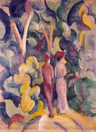 Couple on the Forest Track painting reproduction, August Macke