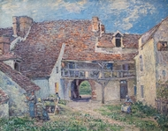 Cour de ferme a Saint-Mammes painting reproduction, Alfred Sisley