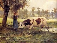 Cows at Pasture painting reproduction, Julien Dupre