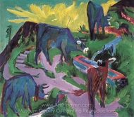Cows at Sunset painting reproduction, Ernst Ludwig Kirchner