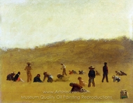 Cranberry Pickers painting reproduction, Eastman Johnson