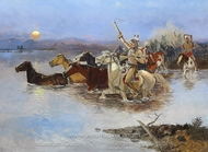 Crossing the River painting reproduction, Charles Marion Russell