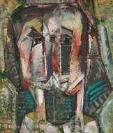 Cubist Twin Heads painting reproduction, Alfred Henry Maurer