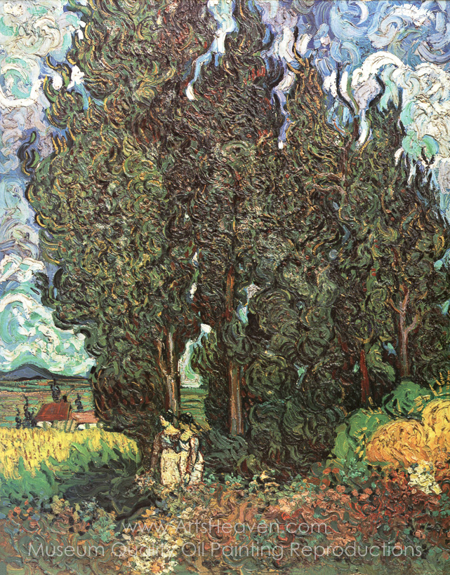 Reproduction Painting Vincent Van Gogh Cypresses with Two Women ...