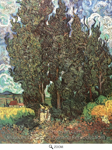 Vincent Van Gogh, Cypresses with Two Women oil painting reproduction