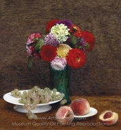 Dahlias, Raisins et Peches painting reproduction, Henri Fantin-Latour