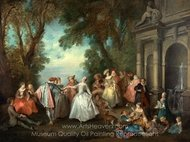 Dance before a Fountain painting reproduction, Nicolas Lancret