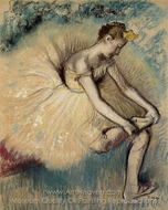 Dancer Putting on Her Slipper painting reproduction, Edgar Degas
