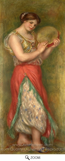 Pierre-Auguste Renoir, Dancing Girl with Tambourine oil painting reproduction