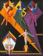 Dancing Girls in Colourful Rays painting reproduction, Ernst Ludwig Kirchner