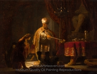 Daniel and Cyrus Before the Idol Bel painting reproduction, Rembrandt Van Rijn