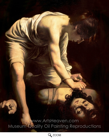 Caravaggio, David and Goliath oil painting reproduction