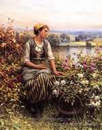 Daydreaming painting reproduction, Daniel Ridgway Knight