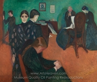 Death in the Sickroom painting reproduction, Edvard Munch