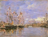 Deauville, Flag-Decked Ships in the Inner Harbor painting reproduction, Eugene-Louis Boudin