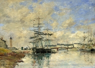 Deauville Harbour painting reproduction, Eugene-Louis Boudin