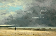 Deauville, Maree Basse painting reproduction, Eugene-Louis Boudin