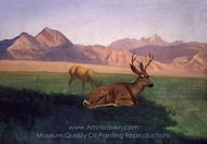 Deer painting reproduction, Albert Bierstadt