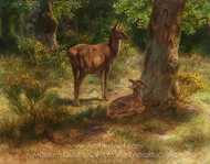 Deer and Fawn in a Wood painting reproduction, Rosa Bonheur