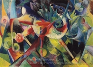 Deer in Flower Garden painting reproduction, Franz Marc