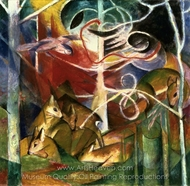 Deer in the Forest I painting reproduction, Franz Marc
