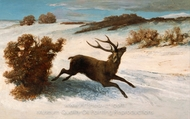 Deer Running in the Snow painting reproduction, Gustave Courbet