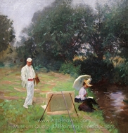 Dennis Miller Bunker Painting at Calcot painting reproduction, John Singer Sargent